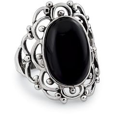 Onyx and Sterling Beaded Scallops Ring ($100) ❤ liked on Polyvore featuring jewelry, rings, accessories, cocktail rings, beading jewelry, black onyx jewelry, bead bracelet and onyx bracelet