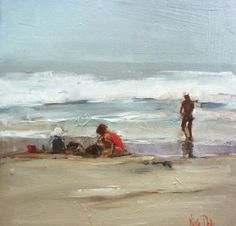 Nicole Pletts: title unknown [family by the seashore], Oils on canvas.