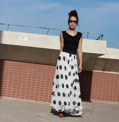 White dotted maxi skirt dress double layered by DressOriginal