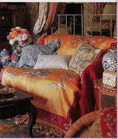 Orange silk throw. Bohemian living by Lynne Von Kersting