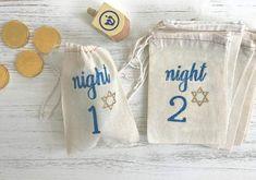Hanukkah Cotton Canvas Treat Bags. 8 Nights of Hanukkah Gift Bags. Treat Bags. Reusable Hanukkah Tags. Star of David. Hanukkah Decor. 8CT