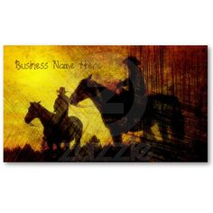 Cowboys on Horses Grunge Business Cards by duhlar