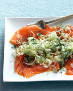 Fennel & Smoked Salmon Salad-  In med bwl, toss 1 (~8 oz) fennel bulb- thinly sliced + 1/4 c. fennel fronds, w/ 1/2 tsp finely grated lem zest + 4 tsp lem juice. Season w/ s & grnd pp. Lay 4 oz thinly sliced smokd salm on a srving plate, top w/ fennel mixt, & drizzle w/ 1 T EVOO.