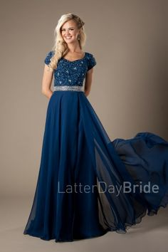 Modest Prom Styles for 2017 | LatterDayBride & Prom | SLC | Utah | Worldwide Shipping | Joyce | This stunning prom gown features a lace and beading patterned bodice, a thick sequined waistband, and an enchanting flowy skirt.    Dress available in Navy.