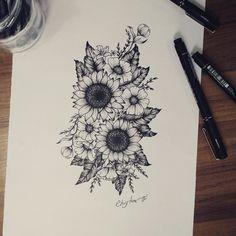 39 Impressive Black And White Sunflower Tattoo Ideas - Awesome 39 Bee . - 39 Impressive Black and White Sunflower Tattoo Ideas – Awesome 39 Impressive Black and White Sunf - Finger Tattoos, Wrist Tattoos, Body Art Tattoos, New Tattoos, Sleeve Tattoos, Tattoo Ink, Tatoos, Future Tattoos, Tattoo Outline