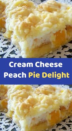 Cheese Peach Pie Delight INGREDIENTS: 1 package of white or yellow dry cake mix cup butter, room temperature 2 large eggs, divided 29 ounce can of peach slices, drained 8 ounces of Cream Cheese, room temperature cup of sugar 1 Cake Mix Desserts, 13 Desserts, Cake Mix Recipes, Pie Dessert, Cheesecake Recipes, Dessert Recipes, Peach Pie Recipes, Snacks Recipes, Waffle Recipes