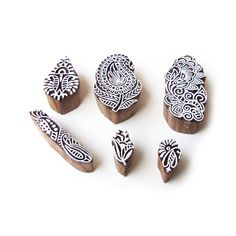 Assorted and Floral Elegant Motif Wooden Stamps for Printing (Set of 6)…