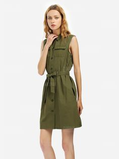 Price: $18.31. Women Khaki Sleeveless Shirt Dress - ARMY GREEN. #dress #dresses #fashion #women #beauty #buy #sale #shop #style #clothes #beautiful #girls #accessories #girl #sales #best #colors #love #collection #mode #moda #free #best #life #lifestyle Khaki Shirt Dress, Sleeveless Shirt, Latest Dress For Women, Gear Best, Cute Clothes For Women, Online Clothing Stores, Women's Clothing, Lace Sleeves, Buy Dress