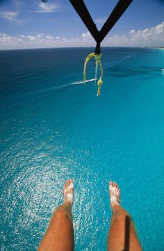 Parasailing, over a great blue ocean!