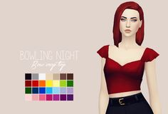 """purrsephonesims: """"Bowling Night Bow Crop Top RecolouredLet me know if there are any problems. Please read my TOU before downloading! You can find it here ● Standalone ● Requires Bowling Night ● Custom Thumbnails ● 28 Swatches Download: Simfileshare """""""