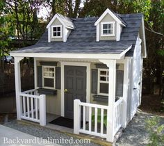 9'x8' Mini Cottage Style Playhouse http://www.backyardunlimited.com/play-houses.php