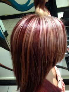 Red color with chunky blonde highlights