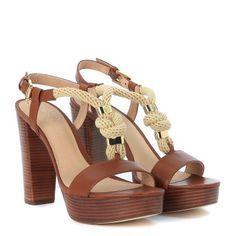 Laterale Sandalo con tacco Michael Kors Holly in pelle color marrone cuoio e corda
