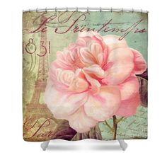 Saisons Pink Peony Rose Shower Curtain by Mindy Sommers