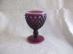 Vintage Fenton Art Glass Purple Plum Opalescent Hobnail Footed Wine Goblet 1959