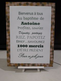 Affiche baptême bienvenue - Decor Tutorial and Ideas Baby Event, Grown Up Parties, First Communion, Family Kids, Holidays And Events, Christening, Diy Gifts, Buffet, Shower Games