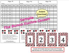 Person Euchre Rotation Score Sheet  By Thebuncoeuchrequeen