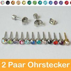 2 Paar Edelstahl Ohrstecker vergoldet Zirkonia Strass Stein Ohrringe Ear Stud