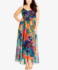 City Chic Plus Size Floral-Print Maxi Dress | macys.com