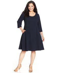 SL Fashions Plus Size Three-Quarter-Sleeve Flared Dress - Dresses - Plus Sizes - Macy's