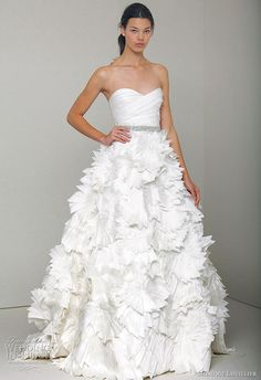 Monique Lhuillier 2010 Spring/Summer wedding dress collection - Tinsley ivory embroidered satin organza strapless bridal gown with draped bodice and full origami skirt