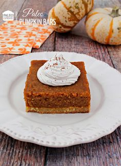 Paleo Pumpkin Bar Recipe - PaleoCupboard.com