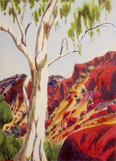 Ghost Gums with Scree Slopes..Reuben Pareroultja