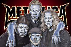 "Joyeishak Art ✍️📸🎥 (@joyeishak_art) agregó una foto a su cuenta de Instagram: ""Cyber Metallica Band Fan Art Si te ha gustado la ilustración, dale like, comenta, si deseas más…"" Metallica, Cyber, Instagram, Fictional Characters, Make Art, Portraits, Animales, Pictures, Fantasy Characters"