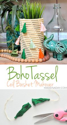 Stitched Tassel Coil Basket Makeovers | Made in a Day