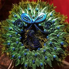 beautiful quilled peacock wreath