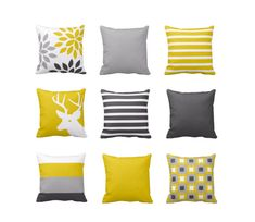 Throw Pillow Covers Mustard Yellow Grey White Couch Cushion