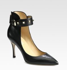 VALENTINO: Rockstud Leather Ankle Strap Pumps