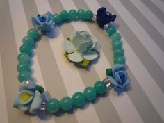 Celest Quartzite Beaded Flower Stretchy Bracelet by urbaneprincess, $12.00