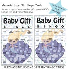 Baby Shower Game, Baby Gift Bingo, Mermaid, Under the Sea Theme, INSTANT DOWNLOAD by PaperedParties on Etsy https://www.etsy.com/listing/259869254/baby-shower-game-baby-gift-bingo-mermaid