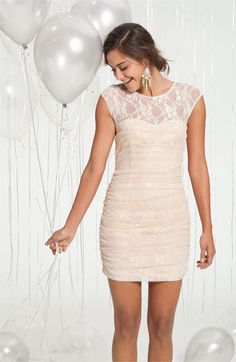 Lacy Dress					  						              4.5  out of  5       Fit rating:     runs small   runs large              38 reviews      |       Write a review            Facebook       Twitter   95%of customers would recommend this to a friend (36/38)           4.5  out of  5       Fit rating:     runs small   runs large                						 | 35 discussions    	  		  			  				  					A curve-defining ruched mesh overlay adds