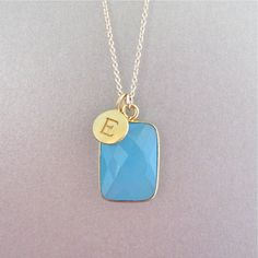 Gold Initial & Chalcedony Pendant Necklace by tangerinejewelryshop, $69.00
