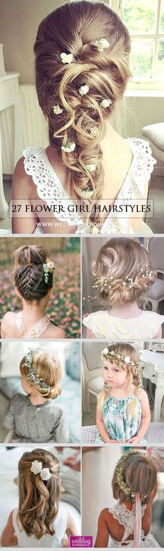 It is necessary to find pretty hairstyle for your flower girl. Here you'll find simple flower girl hairstyles and more complex which made by a professional. Flower Girl Hairstyles, Little Girl Hairstyles, Trendy Hairstyles, Wedding Hairstyles, Short Haircuts, Bridesmaids Hairstyles, Peinado Updo, Wedding Hair And Makeup, Hair Wedding