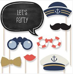 fun nautical themed photo booth props set