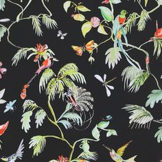 """The Classic 33' x 20.8"""" Bird of Nature Wallpaper has a delicately hand drawn illustration that emphasizes on natural elements. The insects, leaves, and birds bring serenity to a busy atmosphere, like the living room or kitchen. The beautiful pastels blend flawlessly with the neutrals to create a natural and unique look."""