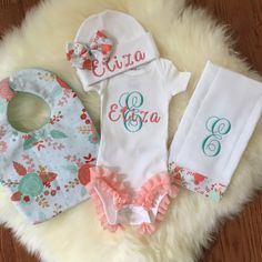 Junie grace newborn girl coming home outfit baby girl baby girl coming home outfit coral floral newborn baby monogram clothes personalized baby gift newborn photo prop baby girl ruffled legs negle Choice Image