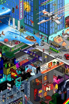 """Tribute — Pixel Art Poster by Matej """"Retro"""" Jan """"It's a tribute to all my childhood memories as well as recent cool things that have left a mark in my life. Pixel Art, Video Game Art, Video Games, Monkey Island, Isometric Art, Film D'animation, Illustration, Gaming Wallpapers, Joker"""