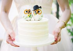 Owl wedding cake topper | photo by aster  olive photography | 100 Layer Cake