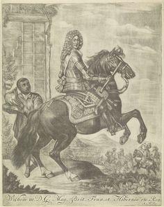 Arnoud van Halen   Ruiterportret van Willem III, prins van Oranje, Arnoud van Halen, c. 1700 - 1732   Ruiterportret van Willem III. In zijn rechterhand een commandostaf. Links een donkere man met zijn helm. Op de achtergrond ruiters, waaronder een paukenslager. In de ondermarge zijn naam en titels.