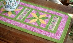 Quilted Table Runner  Floral Table Runner  by RedNeedleQuilts