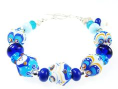Abstract Bracelet Lampwork Bracelet Glass Bead by JadjusJewelry, $148.00