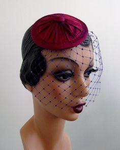 Fuchsia Pink Fascinator Hattie with Veil      $46