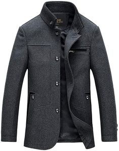 Zicac Men's Stand Collar Plain Slim Button Front Business Wool Coat Jacket. mens coats and jacket Mens Wool Coats, Mens Overcoat, Men Coat, Herren Winter, Mens Winter Coat, Winter Coats, Winter Outfits Men, Winter Clothes, Men's Coats And Jackets