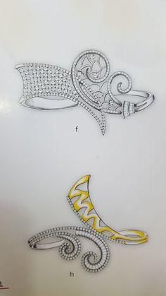 Diamond Bangle, Diamond Jewelry, Gold Jewelry, Jewelery, Jewellery Sketches, Jewelry Sketch, Jewelry Design Drawing, Jewelry Illustration, Snake Jewelry