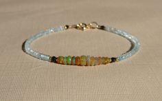 Opal Bracelet, Fiery Ethiopian Opal Bracelet, Aquamarine Bracelet, Ethiopian Opal Bracelet, Gemstone Bracelet, Opal Aquamarine Bracelet by ThreeMagicGenies on Etsy