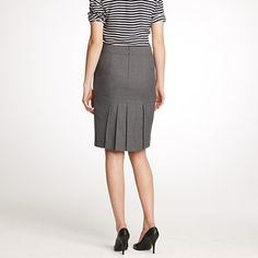 Love this JCrew skirt for building a working wardrobe! Straight in the front, box pleats in the back to keep it young and fun! $118